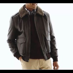 St John's Bay Darkbrown leather bomber with sherpa